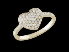 Bague Coeur épris - Or jaune 18 carats et diamants 0,50 carat - Taille 50