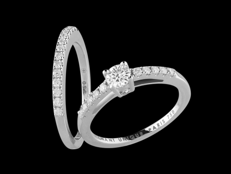 Solitaire et Alliance Harmonie - Or blanc 18 carats, diamant central 0,20 carat et pavage diamants 0,25 carat