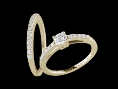 Solitaire et Alliance Harmonie - Or jaune 18 carats, diamant central 0,20 carat et pavage diamants 0,25 carat