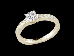 Solitaire My Love - Or jaune 18 carats, diamant 0,50 carat et pavage diamants 0,20 carat