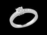 Solitaire My Love - Or blanc 18 carats, diamant 0,50 carat et pavage diamants 0,20 carat