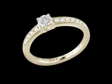 Solitaire My Love  - Or jaune 18 carats, diamant 0,30 carat et pavage diamants 0,10 carat