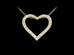 Collier Coeur d'Amour - Or jaune 18 carats et diamants 0,50 carat