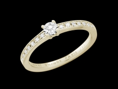Solitaire My Love  - Or jaune 18 carats, diamant 0,20 carat et pavage diamants 0,07 carat