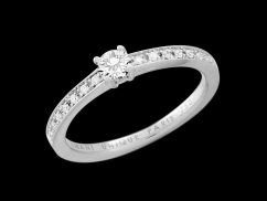 Solitaire My Love  - Or blanc 18 carats, diamant 0,20 carat et pavage diamants 0,07 carat