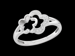 Bague Flower Power - Or blanc 18 carats et diamants 0,05 carat