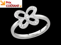 Bague So Free - Or blanc 18 carats et diamants 0,05 carat - Taille 50