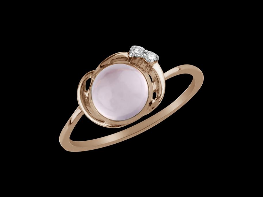 bague lili or rose 18 carats diamants et quartz rose taille 48. Black Bedroom Furniture Sets. Home Design Ideas