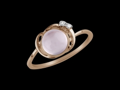 Bague Lili - Or rose 18 carats, diamants et quartz rose