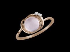Bague Lili - Or rose 18 carats, diamants et quartz rose - Taille 52