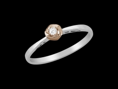 Bague Bouton d'or - Or blanc et or rose 18 carats, diamant 0.04 carat