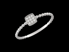 Bague Kiss - Or blanc 18 carats et diamants 0.05 carat