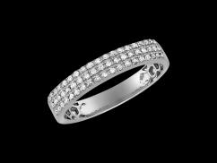 Demi alliance Baiser volé  - Or blanc 18 carats et diamants 0,18 carat