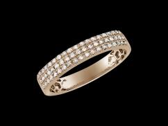 Demi alliance Baiser volé  - Or rose 18 carats et diamants 0,18 carat