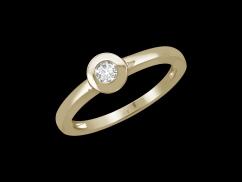 Solitaire Valentine - Or jaune 18 carats et diamant 0,05 carat