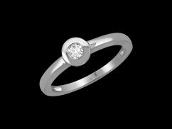 Solitaire Valentine - Or blanc 18 carats et diamant 0,05 carat