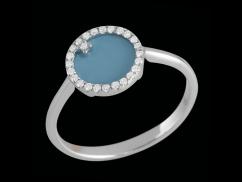Bague Anémone - Or blanc 9 carats, turquoise et diamants 0,13 carat