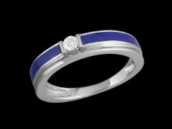 Bague Denim - Or blanc 9 carats, émail bleue et diamant 0.07 carat - Taille 52