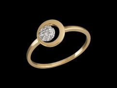 Bague Amulette - Or jaune 9 carats et diamants 0.06 carat