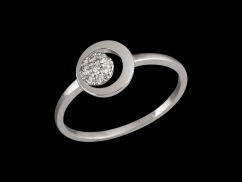 Bague Amulette - Or blanc 9 carats et diamants 0.06 carat