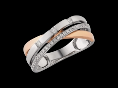 Bague Osiris - Or blanc et or rose 9 carats, diamants 0.21 carat