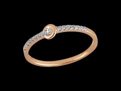 Bague Idylle - Or rose 9 carats et diamants 0.05 carat