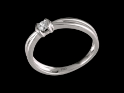 Solitaire Mon Essentiel - Or blanc 18 carats et diamant 0.10 carat