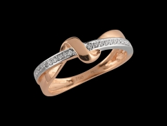 Bague Romantic - Or blanc et or rose 18 carats, diamants 0.10 carat
