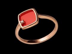 Bague Capucine - Or rose 9 carats, corail et diamant 0.01 carat