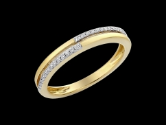 Demi alliance Jazz - Or jaune 18 carats et diamants 0.08 carat