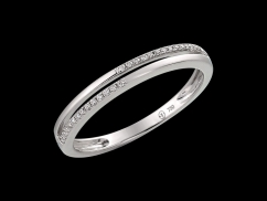 Demi alliance Jazz - Or blanc 18 carats et diamants 0.08 carat
