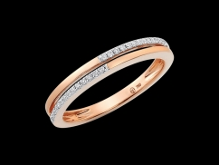 Demi alliance Jazz - Or rose 18 carats et diamants 0.08 carat