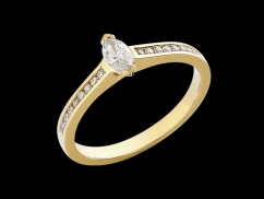 Solitaire Luce - Or jaune 18 carats et diamants 0.28 carat