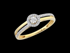 Bague Parcimonie - Or jaune 18 carats et diamants 0.14 carat