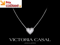 Collier Jolie Coeur - Or blanc, diamants 0.16 carat et nacre blanche