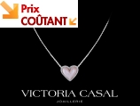 Collier Jolie Coeur - Or blanc, diamants 0.16 carat et nacre rose